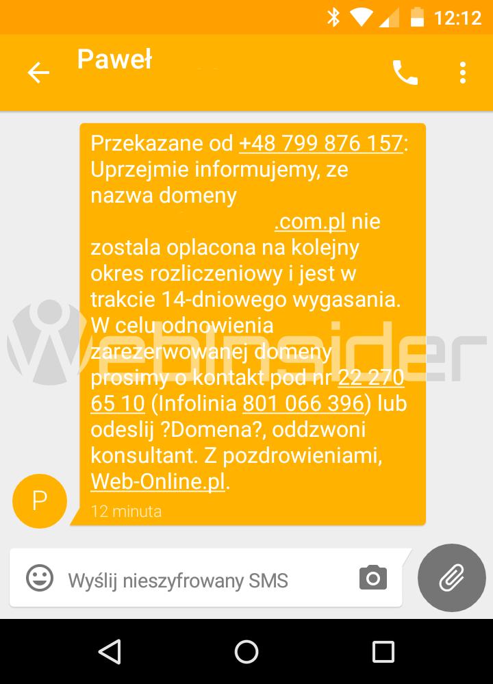 web-online-pl_spam_sms_zarezerwowana-domena-wygasa